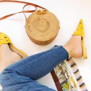 Shoes - 🆕Sabrina Mustard Yellow Faux Suede Flat Mules